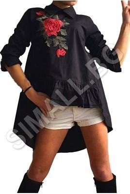 Дамска риза с бродерия в черен и бял цвят
