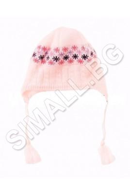 Детска плетена шапка с поларена подплата