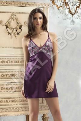 Луксозна къса нощница в лилав,цикламен и тъмно син цвят