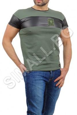 Блуза с кожа къс ръкав