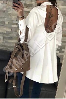 Дамска риза с отвор на гърба в черен и бял цвят