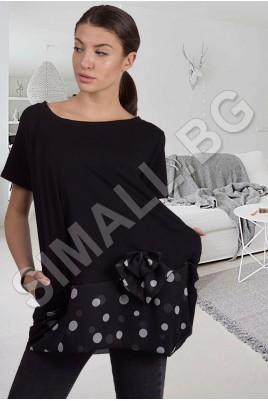 Дамска свободна блуза с панделка