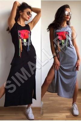 Дамска рокля с цепки в черен и сив цвят