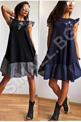 Дамска красива рокля в черен и тъмно син цвят