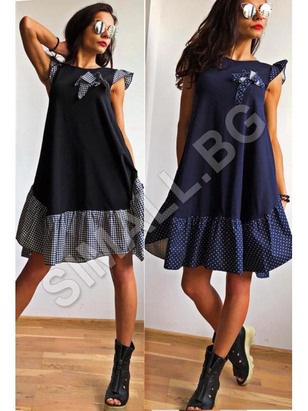 6d4007a59c7 Дамска красива рокля в черен и тъмно син цвят | SiMALL Онлайн Магазин