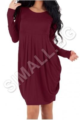 Дамска рокля тип балон с дълъг ръкав