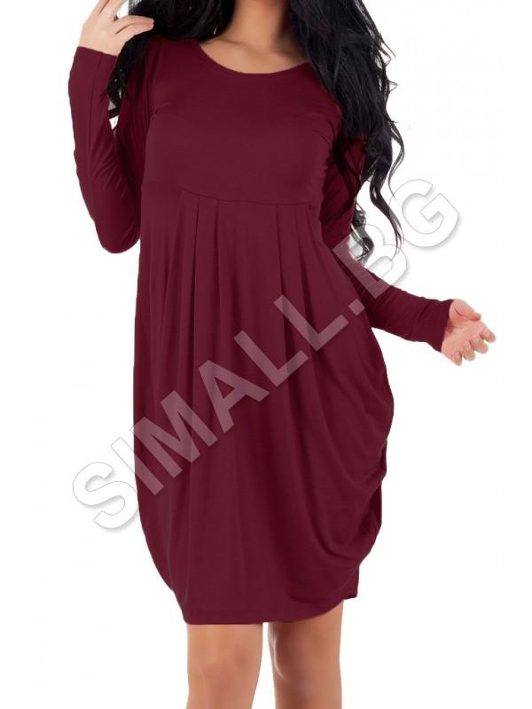 896e04dff34 Дамска рокля тип балон с дълъг ръкав   SiMALL Онлайн Магазин