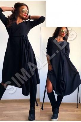 Дамска асиметрична рокля с връзки