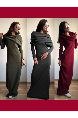 Ladies long dress with a scarf collar in 4 colors