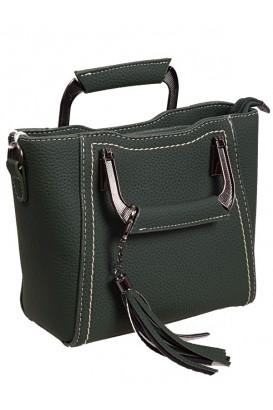 Дамска елегантна чанта в тъмно зелен цвят