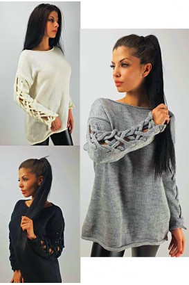 Ladies knitted tunic blouse with beautiful sleeves
