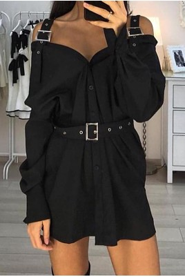 Дамска екстравагантна рокля тип риза в черен и бял цвят