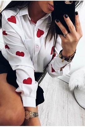 Дамска риза на сърца в 2 цвята