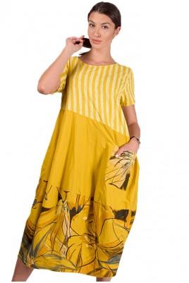 Дамска свободна рокля с флорални мотиви