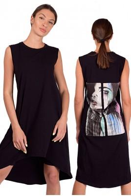 Дамска туника тип рокля в 2 цвята до 2XL