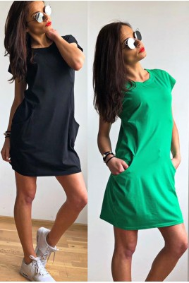 Дамска изчистена рокля с джобове в 5 цвята