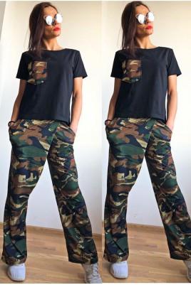 Дамски комплект блуза с панталон принт -камуфлаж