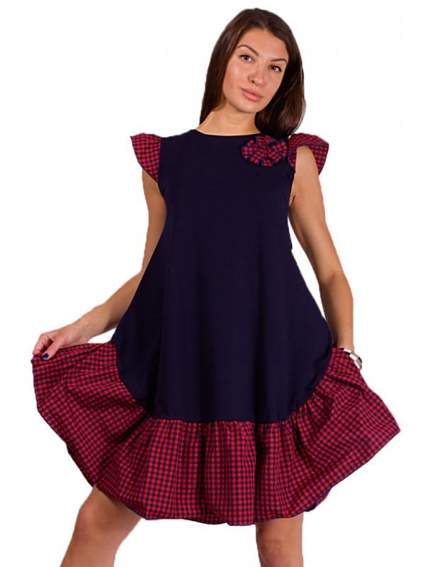 1addfcea587 Дамска красива рокля в червено и тъмно син цвят | SiMALL Онлайн Магазин