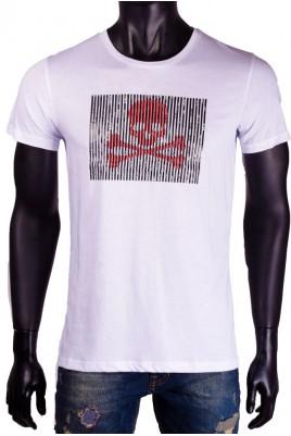 Мъжка тениска в черен и бял цвят