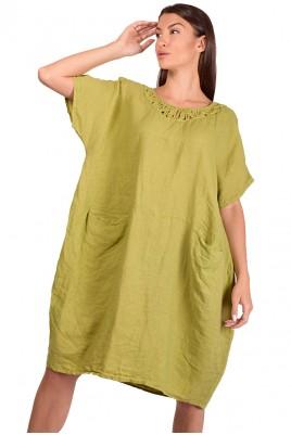 Дамска ленена рокля в 3 цвята до 3XL