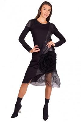 Дамска рокля памук и кожа РОЗА