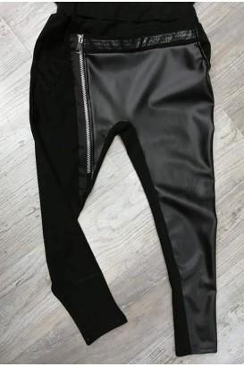 Дамски панталон с кожа