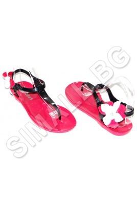 Силиконов сандал за жени и момичета с цвете в бял,циклама и лилав цвят