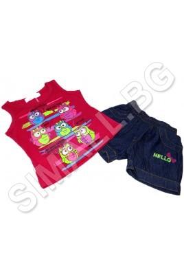 Детски комплект потник и дънкови панталони за момичета от 1 до 5 год.