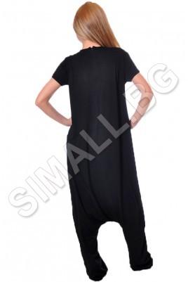 Дамски дизайнерски гащеризон тип барбарон в бял и черен цвят