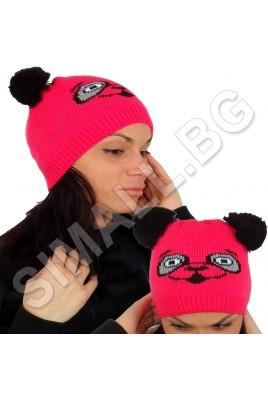 Дамска плетена шапка ПАНДА в 5 цвята