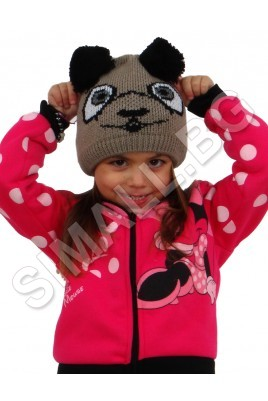Детска плетена шапка ПАНДА за момичета и момчета от 3 до 8 години в бежов и бял цвят