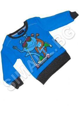 Детска блуза за момчета от 6мес до 2 години в син и сив цвят