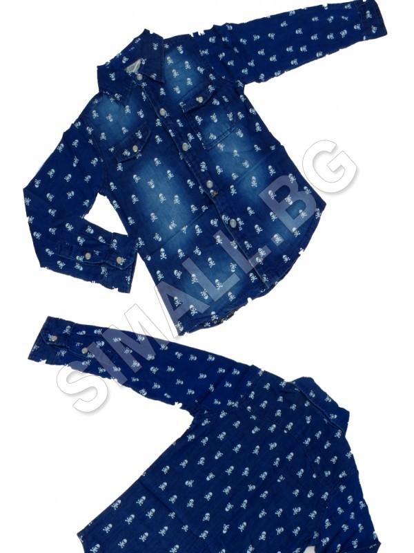 a54cfb12c2c Детска дънкова риза на черепи за момчета от 4 до 12 години | SiMALL Онлайн  Магазин