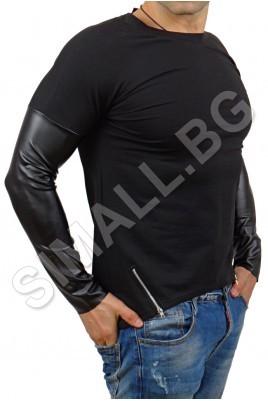 Блуза с кожени ръкави и цип