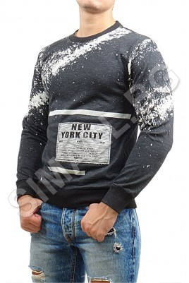 Мъжка сива блуза с бели мотиви