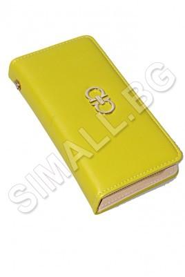 Дамско портмоне с каишка за китката, отделение за банкноти, карти и разделителен джоб за монети