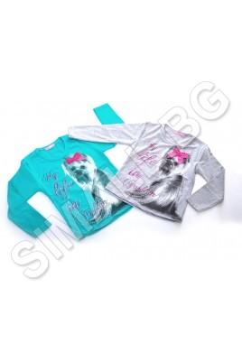 Детска блузка за момичета от 1 до 4 години в сив и зелен цвят